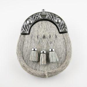 Dress Sporran - Grey Bovine, Celtic Cantle