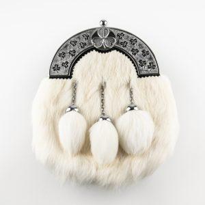Dress Sporran - White Rabbit, Shamrock Cantle