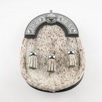 Dress Sporran - Off White Spotted Bovine, Celtic Cantle