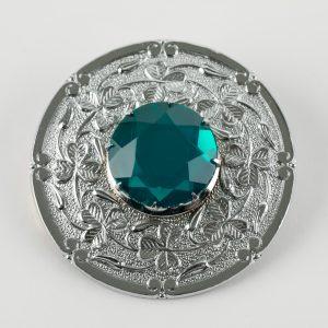 Plaid - Shamrock with Emerald Stone - Chrome Finish